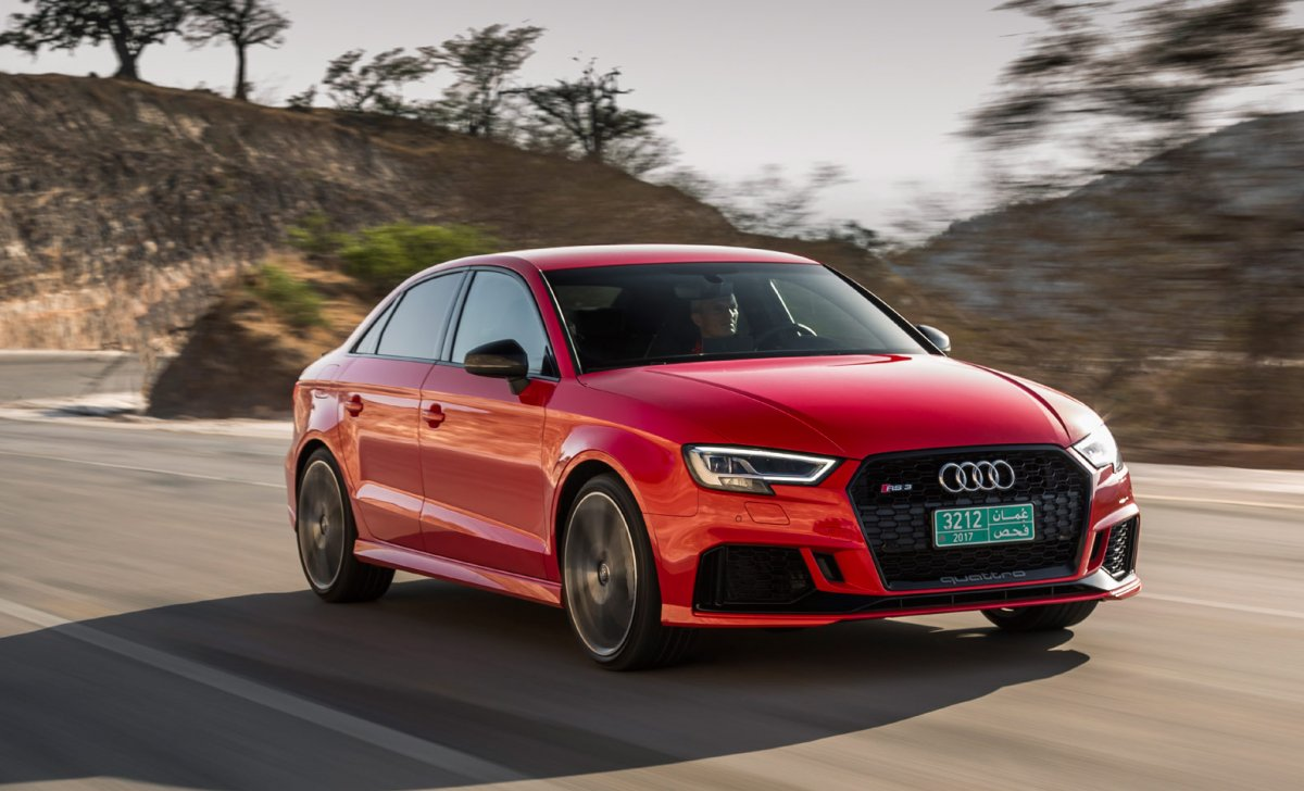 Audi A3 2018 - car insurance - red color, front and side, rear view