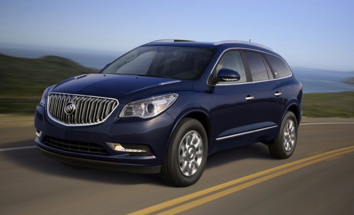 Buick Enclave 2018 - Car insurance rates - front view on the road, blue color