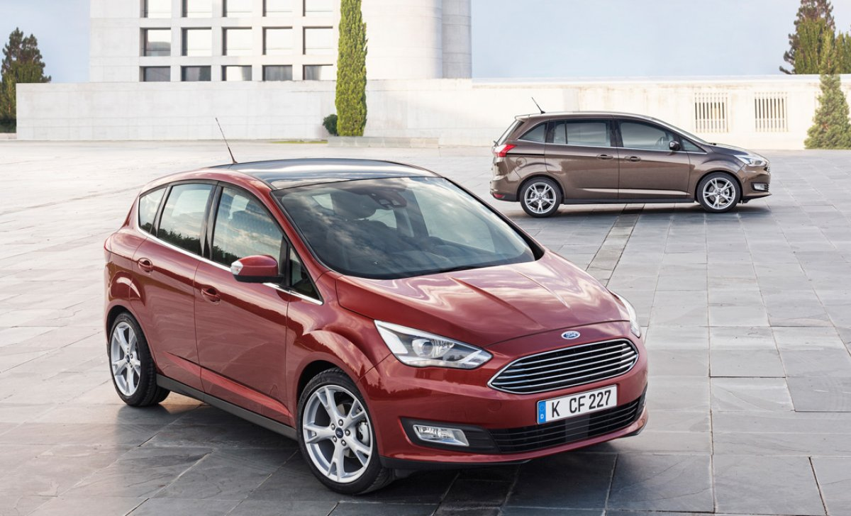 Ford C-Max Hybrid 2018 - car insurance - red, violet color front side view on the road