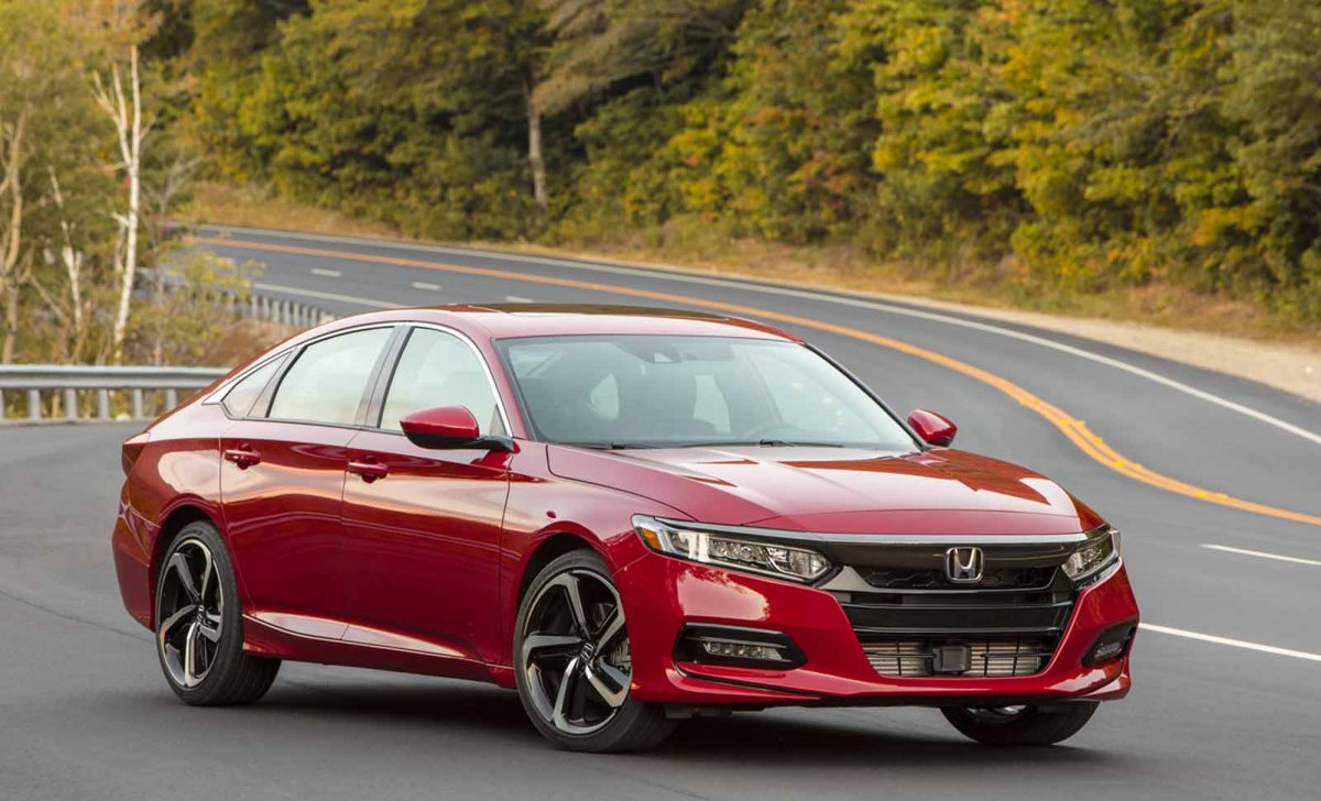 Car insurance for Honda Accord 2018 - red color, front on the asphalt