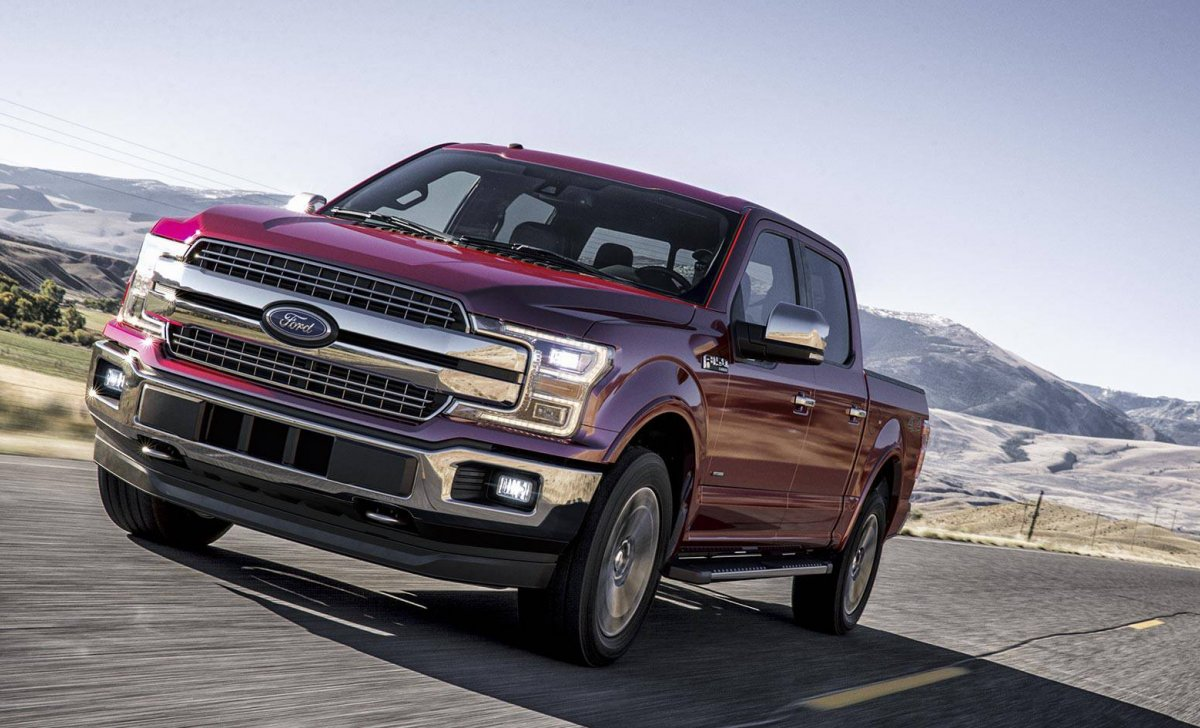 2018 Ford F-150 Platinum - car insurance - purple on the road front view