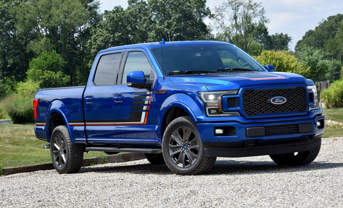 2018-Ford-F-150-front-three-quarter - car insurance - blue color on the road front view side view