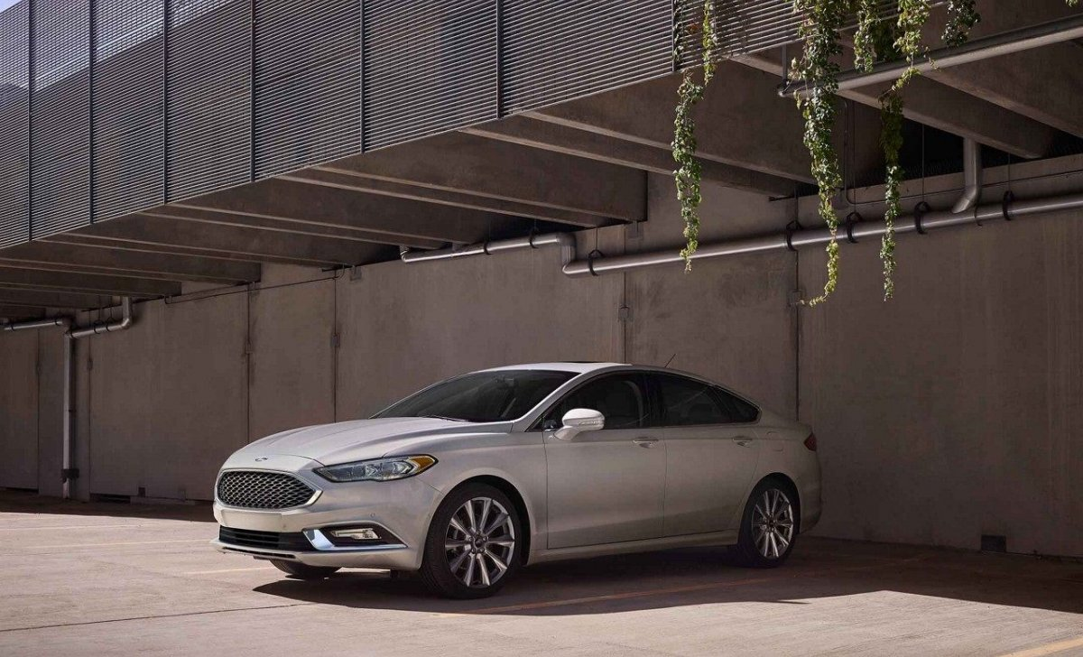 2018 Ford Fusion - Car Insurance - white color, futuristic photo view, side rear
